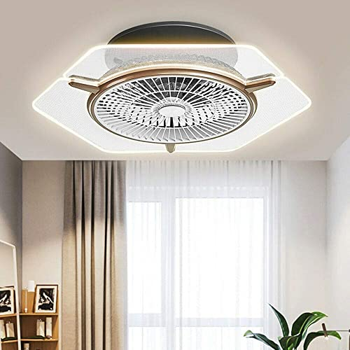 Modern Ceiling Fan with Lights, 22 Dimmable Flush Mount Cooling Fan Acrylic Chandelier 3 Gear Wind Speed for Bathroom Living Room Dining Room w Remote Temperature Control