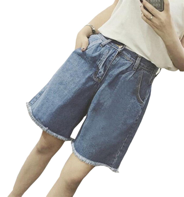 FLCH+YIGE Women's Fashional High wast Jean Pocket Baggy Shorts