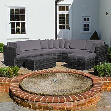 Zebrano - al aire libre jardín curvada juego de sofá en esquina con ...