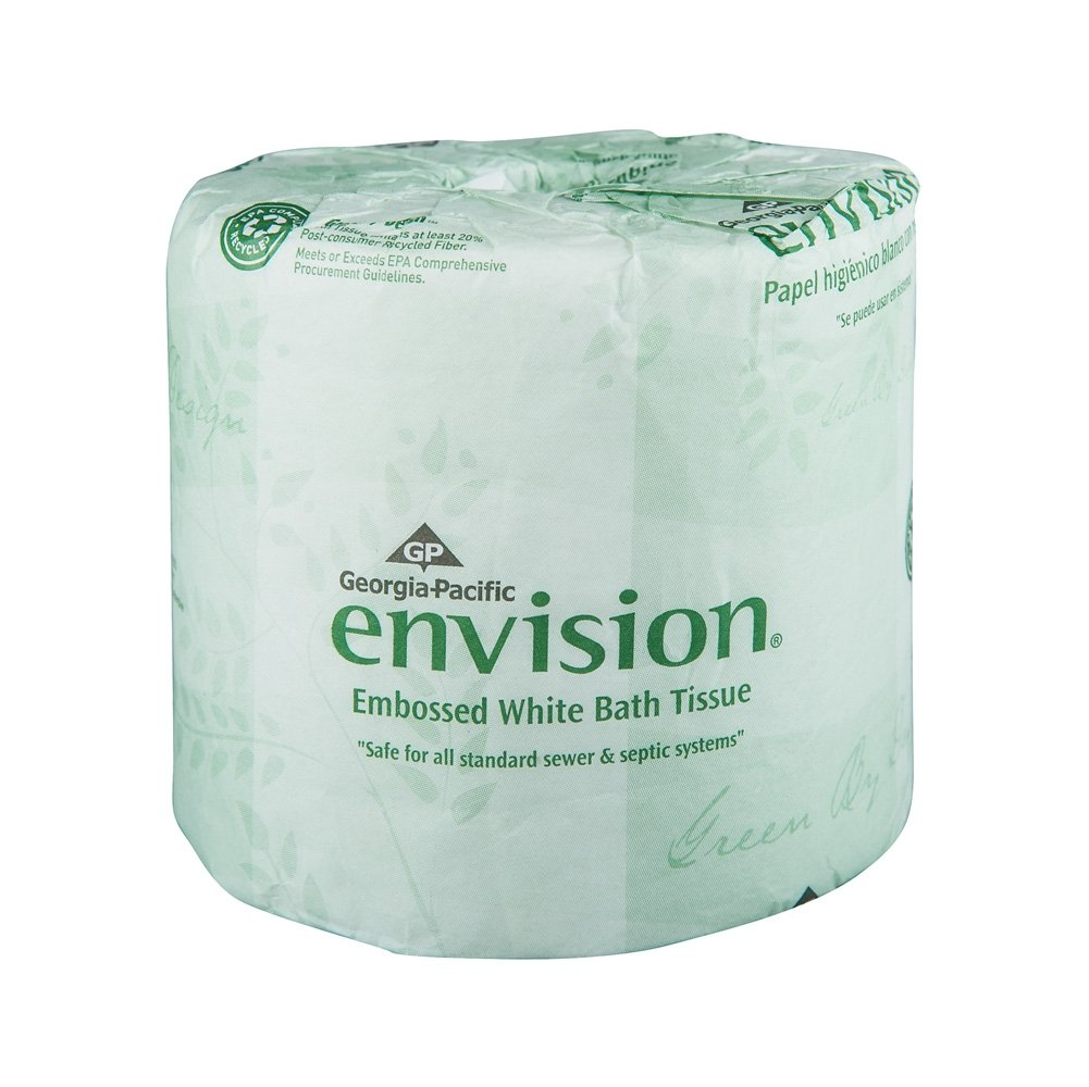 Georgia-Pacific Envision 19881/01 White 1-Ply Embossed Bathroom Tissue, (WxL) 4.000'' x 4.050'' (Case of 80 Rolls, 550 Sheets per Roll)