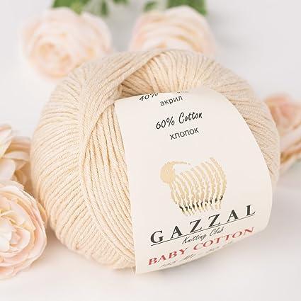 Gazzal - Hilo de algodón suave y fino para bebé, 50 g, 165 m, 60 ...