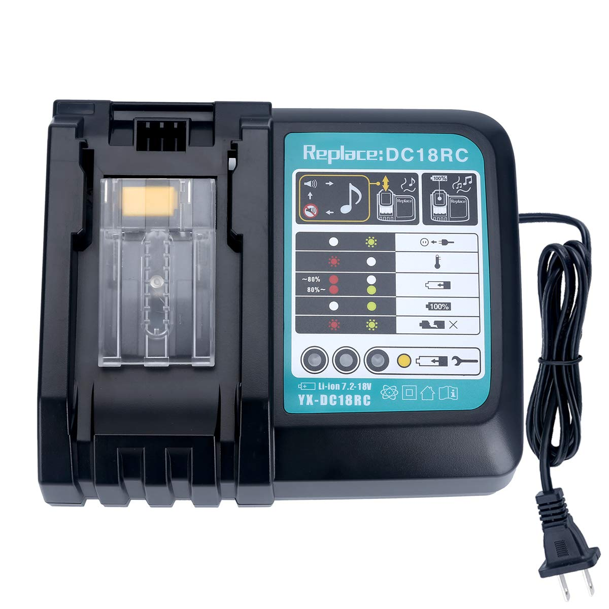 Lasica 18V Battery Charger DC18RC for All Makita 14.4V-18V Lithium Battery BL1430 BL1830 BL1840 BL1850 BL1815 BL1440 (14.4V-18V 1 Pack) US Plug Fast Charger