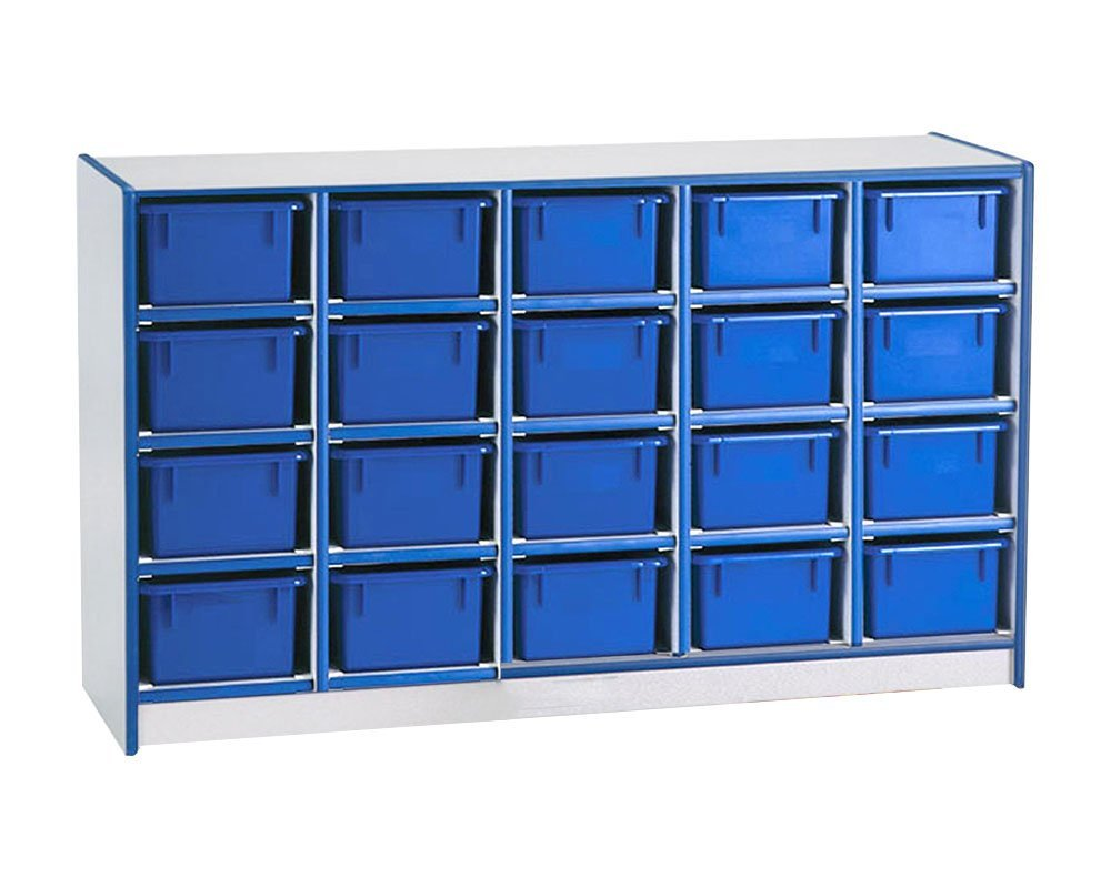 Offex Children Classroom Organizer 20 Cubbie-Tray Mobile Storage Unit without Trays - Navy