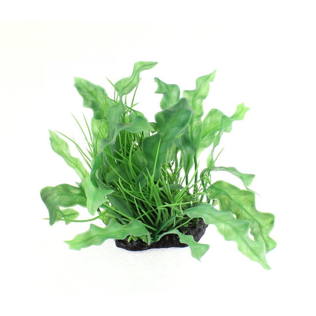 Plastic Fish Tank Grass Round Leaf for Aquarium, 15cm, Green Pink