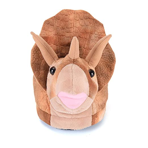 09193c3a9bf0a Amazon.com  Triceratops Plush Slippers Winter Warm Indoor Warm ...