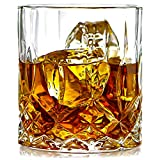 ELIDOMC Lead Free Crystal Whiskey Glasses (Set of 4), 11 Oz Unique Bourbon Glass, Ultra-Clarity Double Old Fashioned Glasses For Sale