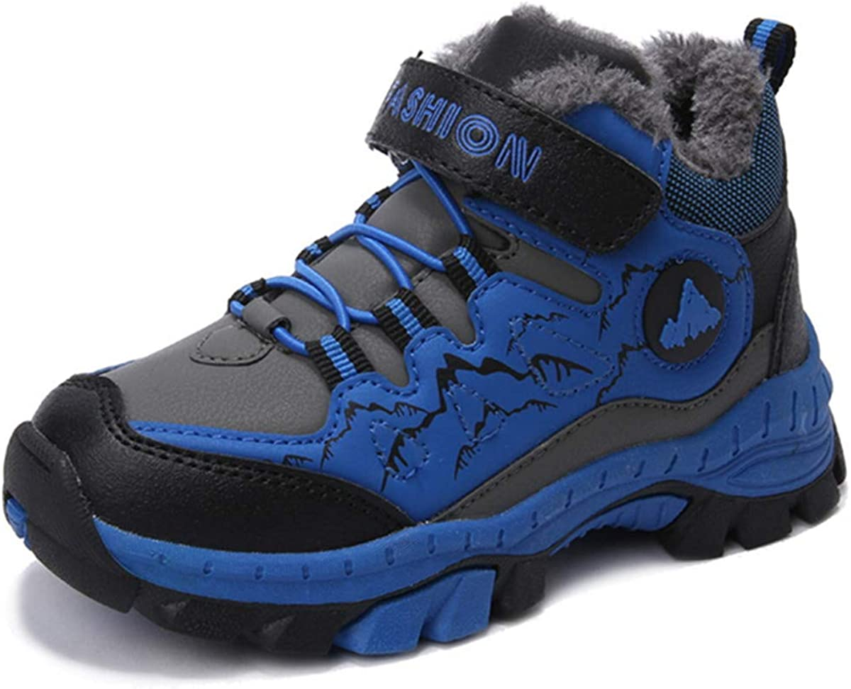 AOOPOO Winter Childrens Cotton Hiking Shoes Outdoor Boy/'s Walking Shoes Non-Slip Steel Claw Plus Velvet Winter Children Hiking Boots