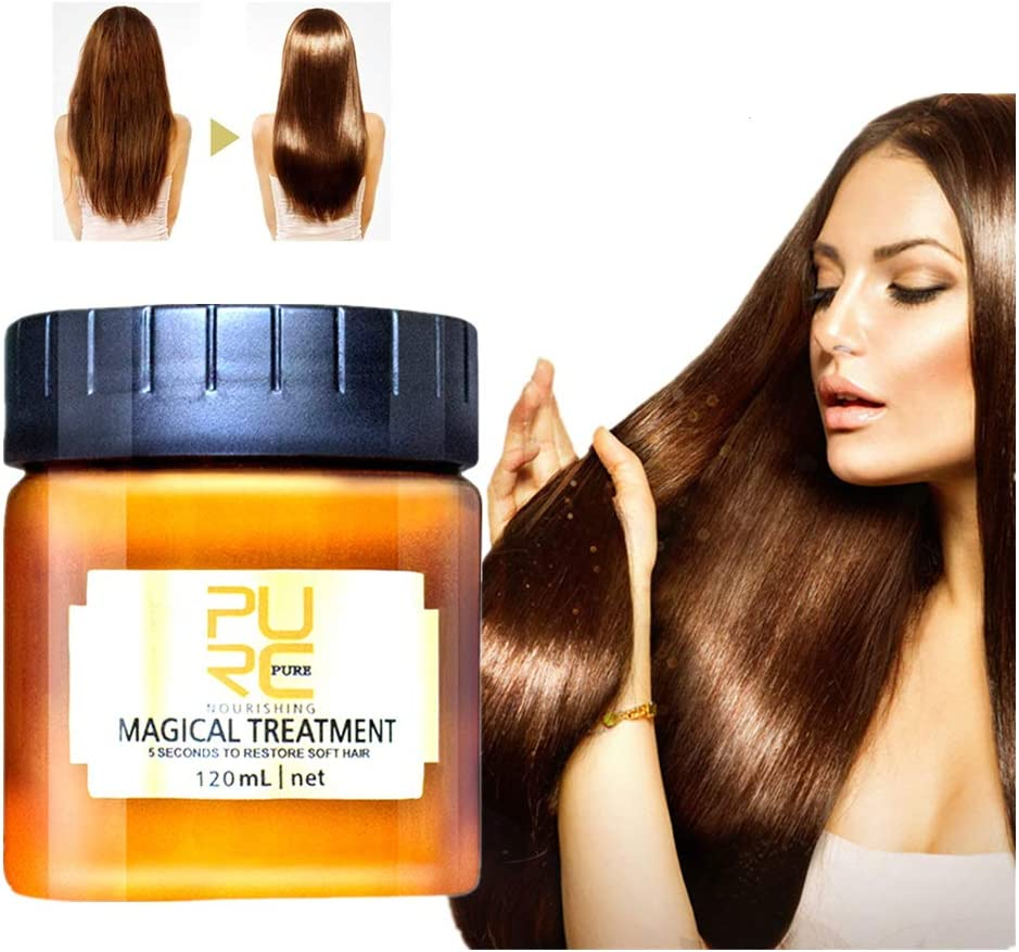 99AMZ Magical Treatment Mask 5 Seconds Repairs Damage Restore Soft Hair 60ml/120ml for All Hair Types Keratin Hair & Scalp Treatment Mascarilla para el Pelo Profesionales para Dañado Cabello (A-12