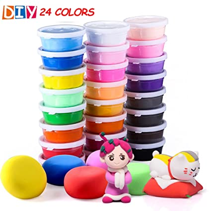 amazon com qmay 24 colors air dry clay ultra light modeling clay