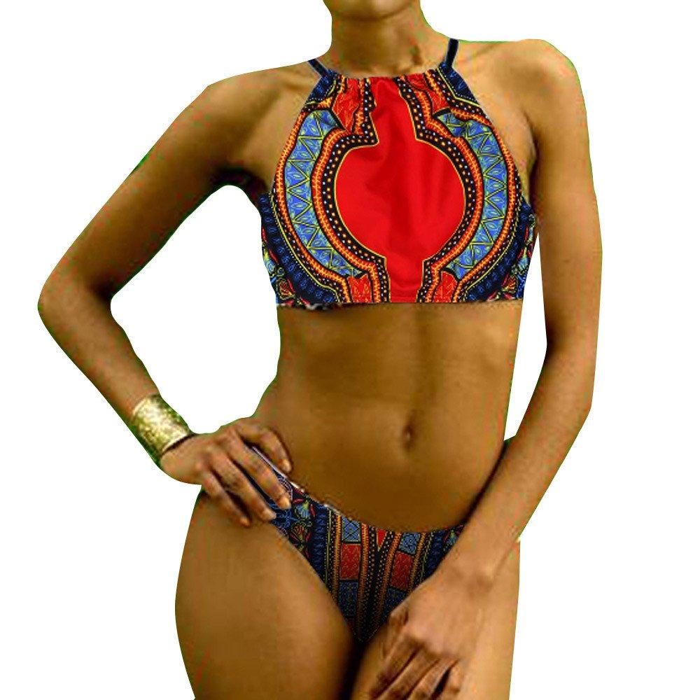 Libermall Women's Sexy African Print Halter Neck Tops Thong Bottoms Bikini Set Two Piece Swimsuits Bathing Suit Swimwear Black