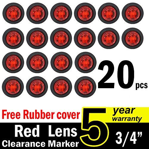 "( Pack of 20 ) TMH 3/4"" Inch Mount RED LED Clearance Bullet Marker lights, Side LED marker lights for trailer Truck RV Car Bus Van supplier"