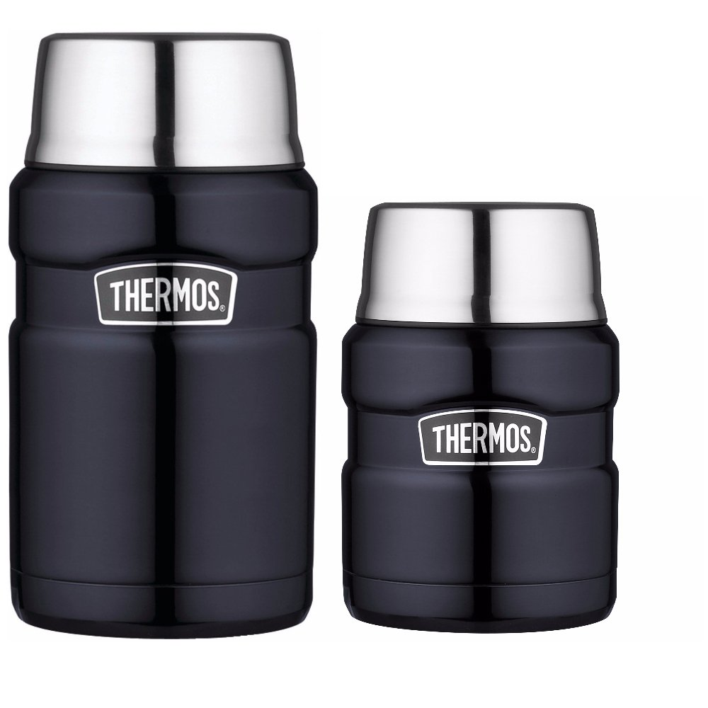 Thermos Stainless Steel Insulated 24oz Food Jar and 16oz Food Jar with Folding Spoon Bundle