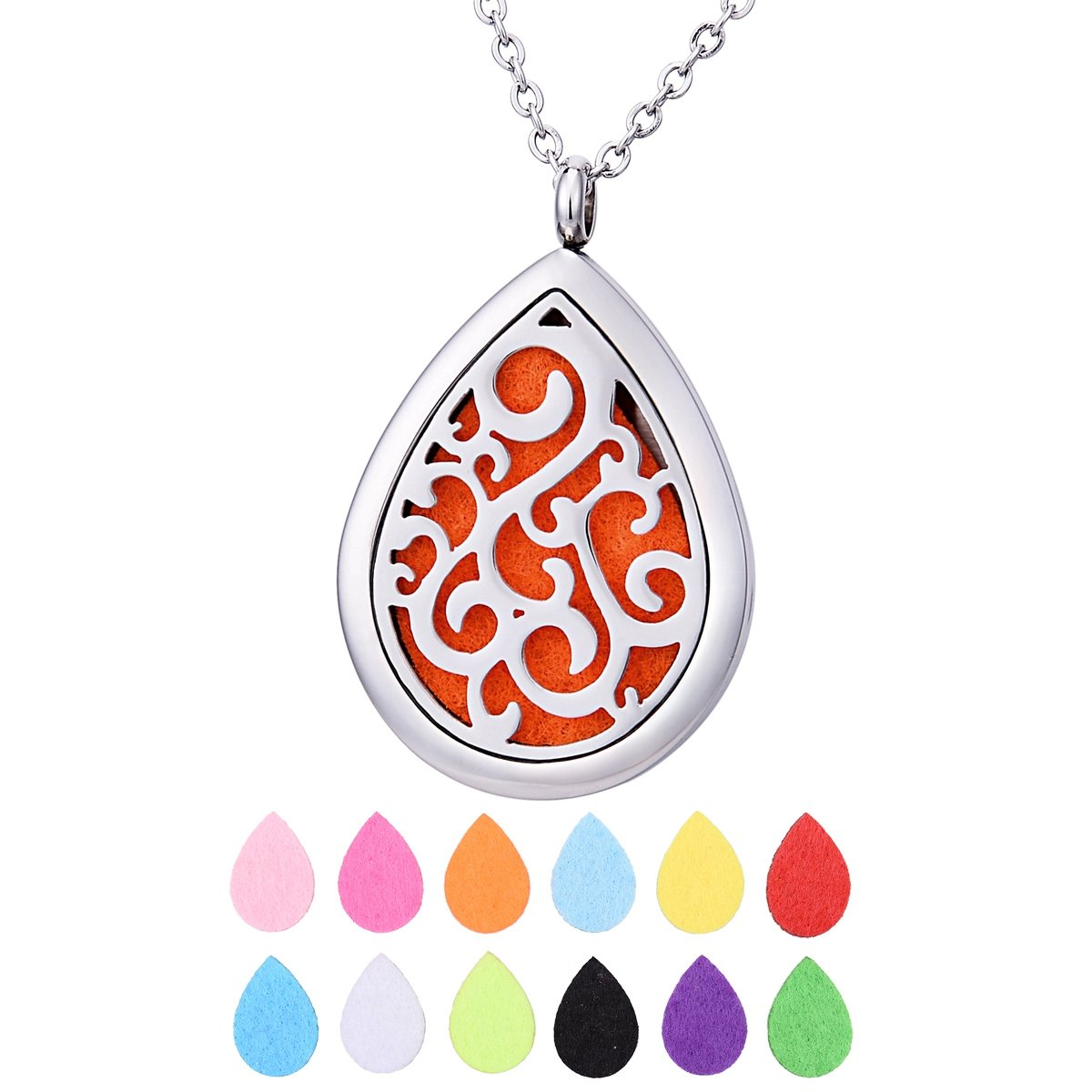 QX Essential Oil Diffuser Necklace Stainless Steel Aromatherapy Locket Pendant Jewelry Teen Girls Gifts - Teardrops 44mmx28mm