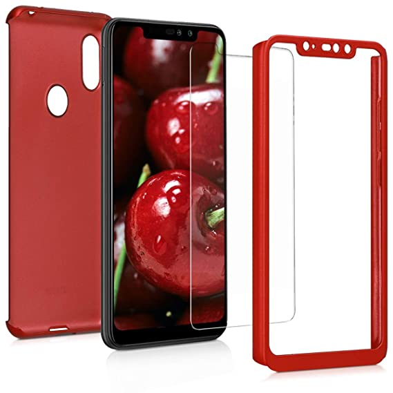 kwmobile Cover for Xiaomi Redmi Note 6 Pro - Shockproof Protective Full Body Case with Screen Protector - Metallic Dark Red