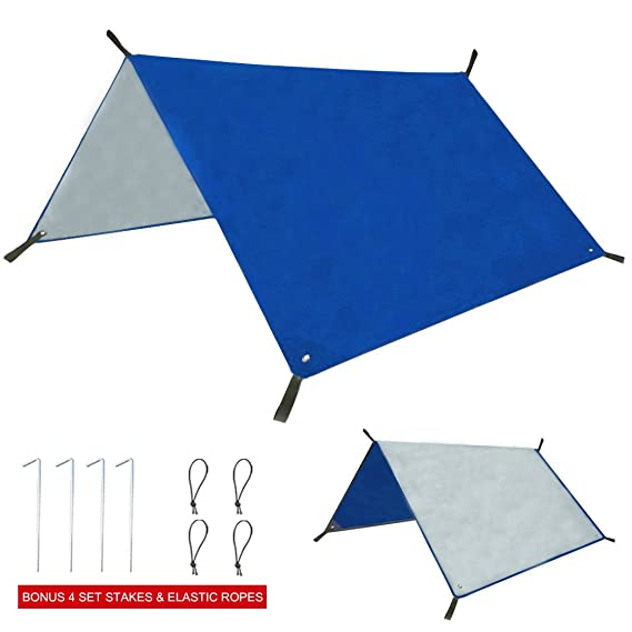 Amazon.com Eurmax 6 x 8 Waterproof Tent Footprints C&ing Tarp Rain Fly Picnics Mat Sunshade Awning Sails Anti-UV Silver Coating,Bonus 4 Stakes \u0026 4 ...  sc 1 st  Amazon.com & Amazon.com: Eurmax 6 x 8 Waterproof Tent Footprints Camping Tarp ...
