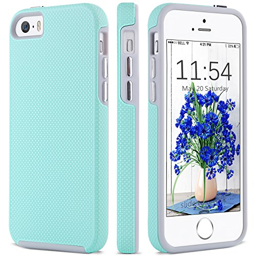 iPhone 5 Case,iPhone 5s Case, iPhone SE Case, BENTOBEN Dual Layer Anti-Scratch Rugged Durable Impact Resistant Plating Chrome Button Anti-Slip Skidproof Case for iPhone SE/5S/5, Mint Green (Iphone 5s Cases Disney)