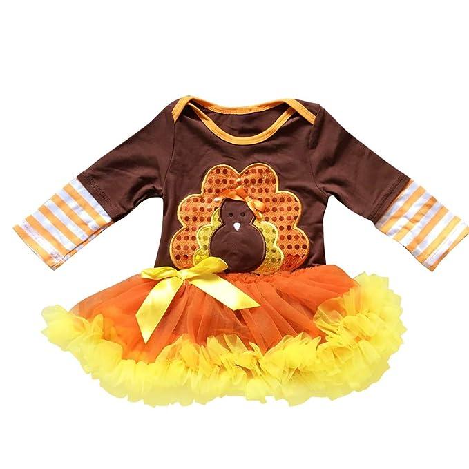 37be34018 OBEEII My First Thanksgiving Baby Toddler Girl Turkey Romper Tutu Dress One  Piece Long Sleeve Bodysuit