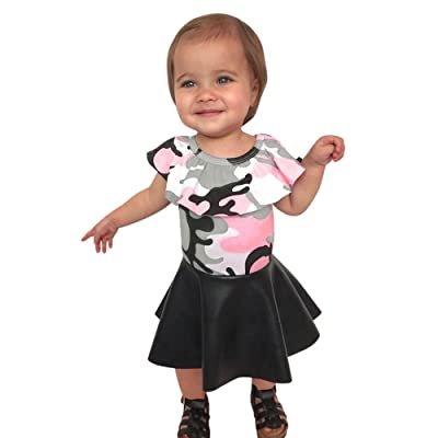 0-4 Years Old Girls,Yamally_9R 2Pcs Girls Camouflage T Shirt with Skirt Clothes