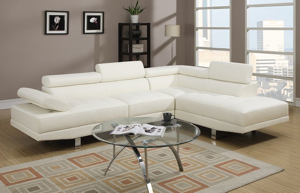 Amazon.com: Poundex 2 Pieces Faux Leather Sectional Right Chaise Sofa,  White: Kitchen U0026 Dining