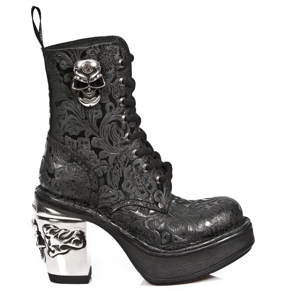 New Rock Shoes - Ladies Black Vintage Flower Lace Up Platform Boots UK 7 / Black by New Rock Shoes