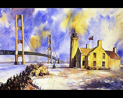Lighthouse Watercolor Paintings (Watercolor painting of Mackinaw Bridge and lighthouse- Mackinaw Island, Michigan (print))