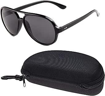 نظاره شمسية للرجال نمط عين الضفدع لون اسود لامع عدسات سوداء رقم الصنف 600 - 1