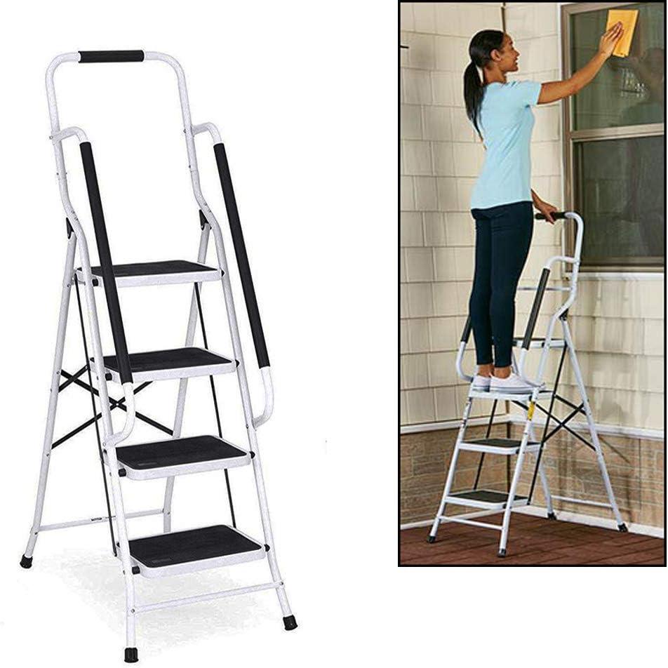 Escalera plegable con superficie antideslizante, soporta hasta 150 kg, para cocina, baño y camping