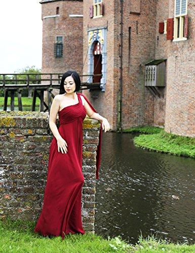 Abendkleider Chiffon 09816 Pretty Ever Damen Burgundy Shoulder Lange One Festkleider x6Y6HXwq