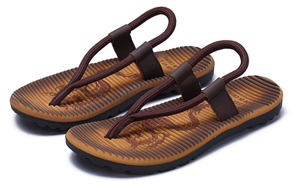 SHOWHOW Men's Daily Sandals - Split Toe Elastic Slip On - Seaside Shoes Khaki 10 D(M) US by SHOWHOW (Image #4)