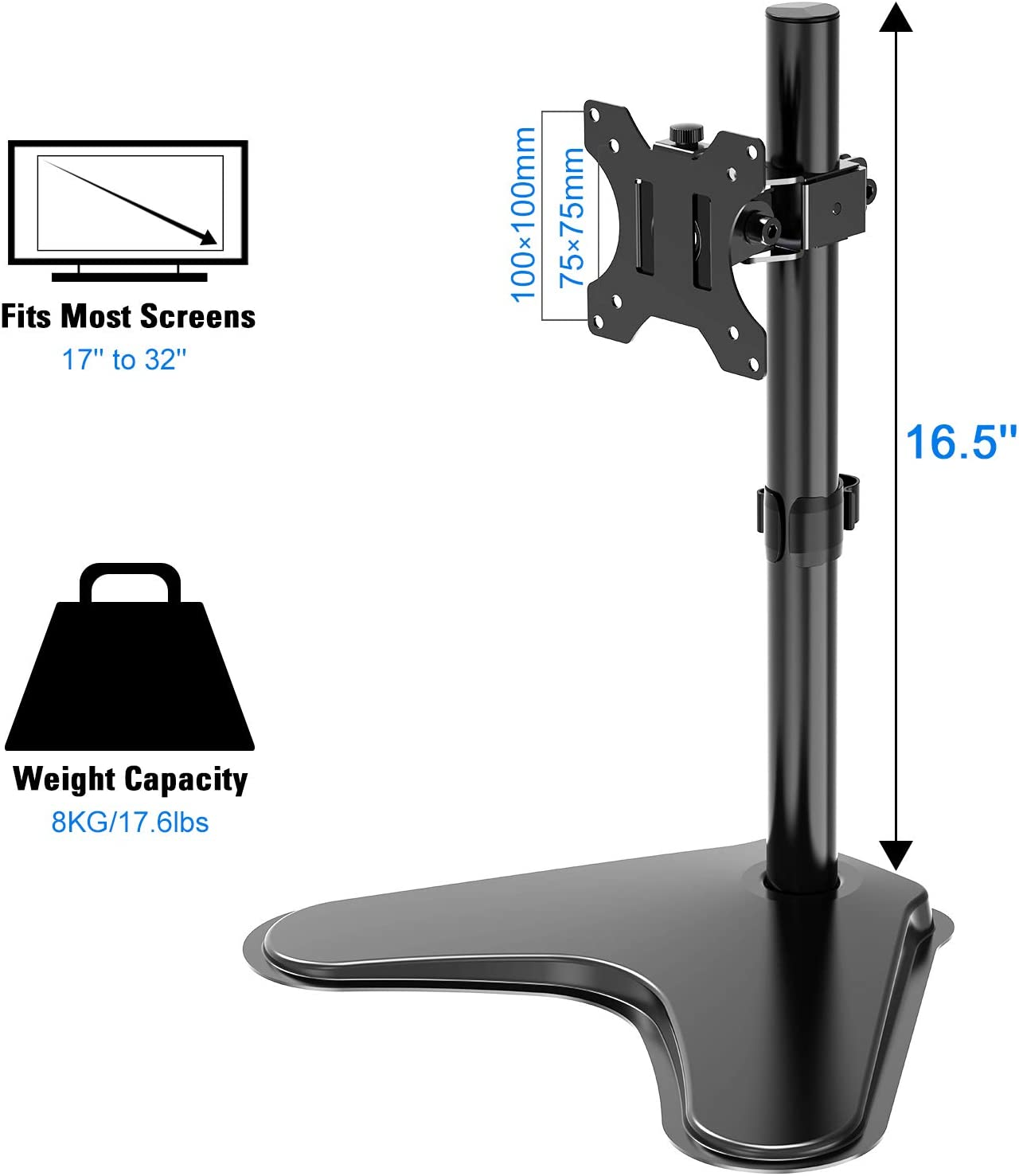 Single Monitor Stand Free-Standing LCD Monitor Desk Mount Fits 1 Screen up to 32 inch 17.6 lbs Adjustable Height Tilt Swivel and Rotation VESA 75X75 100X100