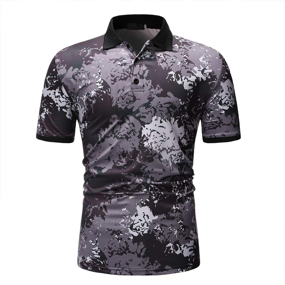 RONSHIN Men Summer Camouflage Color Lapel Collar Casual Shirt