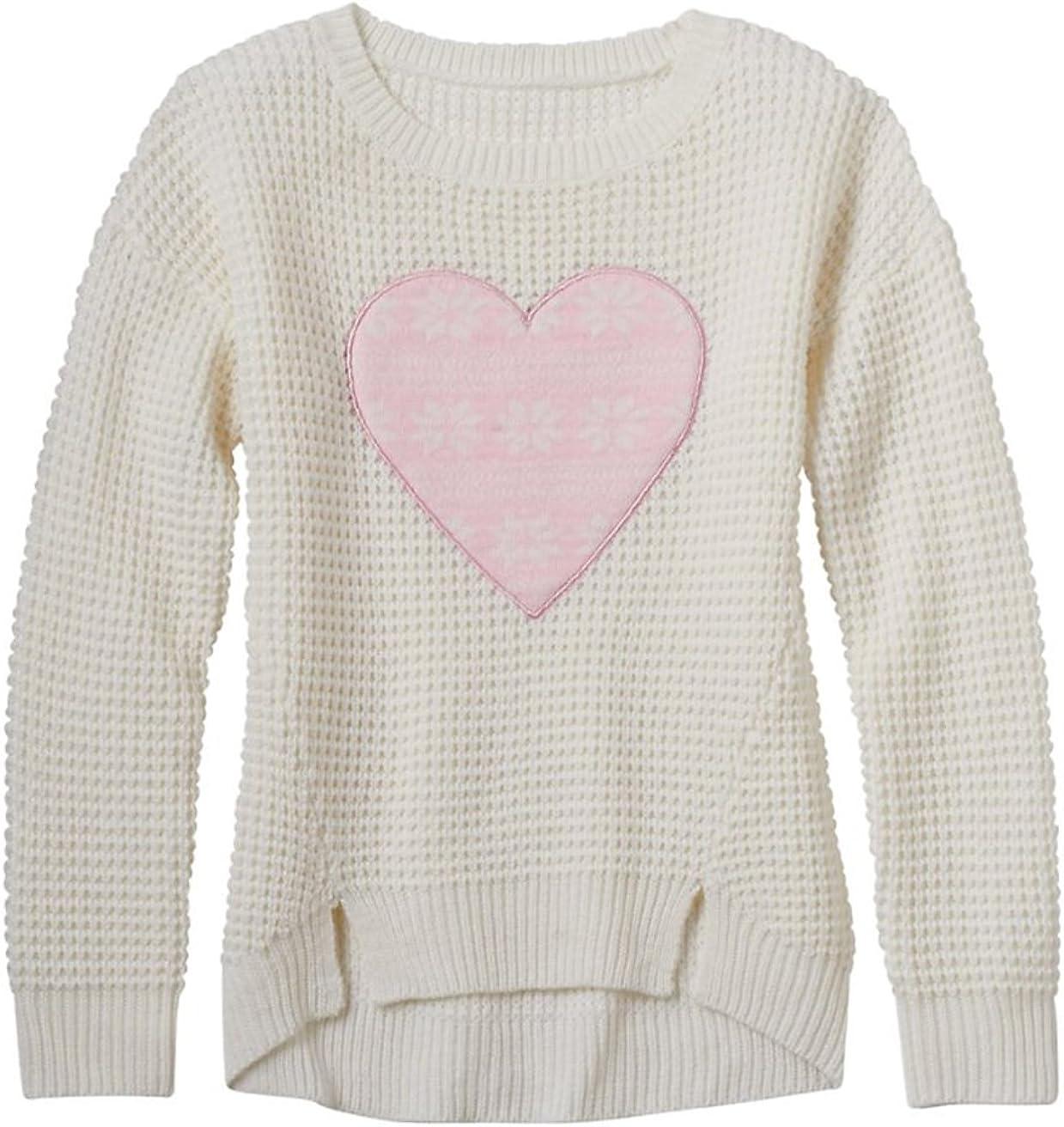 Cream//Pink Sugar Rush Girls Heart Applique Graphic Sweater