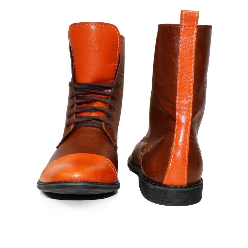 Modello Kurtolo - Cuero Italiano Hecho A Mano Hombre Piel Naranja Botas Altas - Cuero Cuero Suave - Encaje: Amazon.es: Zapatos y complementos
