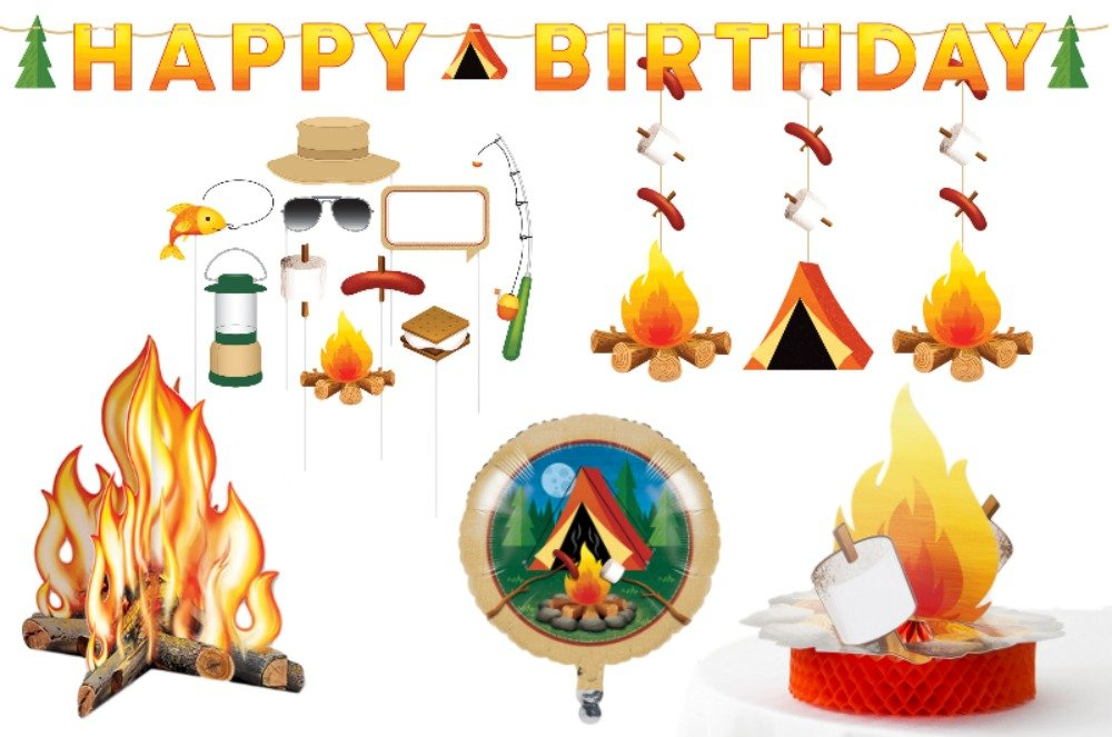 Camping Party Decorations Kit: Bundle Includes 3-D Campfire Centerpiece, Photo Booth Prop Kit, Letter Banner, Set of 3 Hanging Cutouts, Foil Balloon, and Tabletop Honeycomb Centerpiece