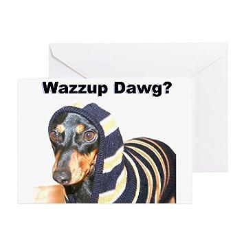 Amazon Cafepress Wazzup Dawg Dachshund Greeting Card Note