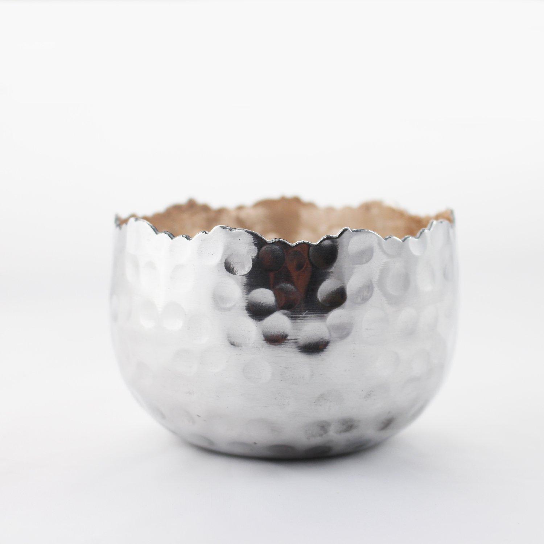 Teelichtschale Silvery Ros/é S Teelichthalter Weihnachtsdeko Strahlender Teelichthalter Windlicht Dekoschale aus Metall