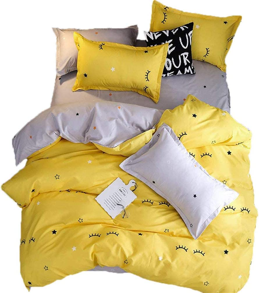 Sookie 3 Pieces Eyelash Curved Duvet Cover and Pillow Shams Bedding Set, Soft and Comfortable Graceful Reversible Durable (Twin Size,Yellow)