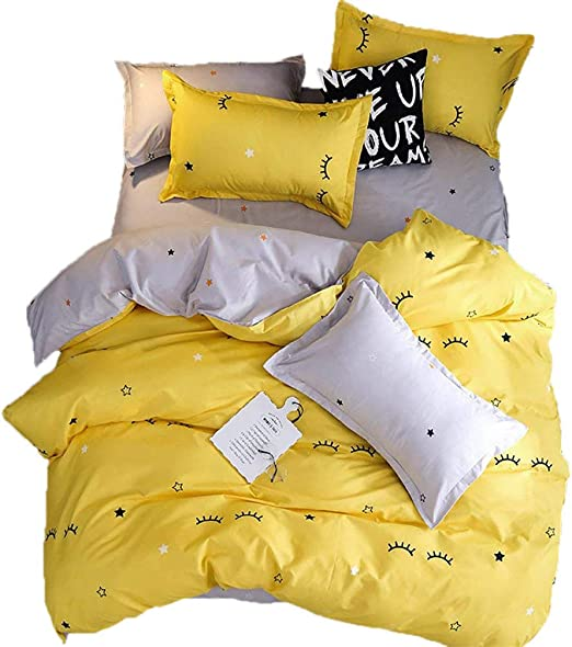 Stars and Lashes Print Kid/'s Yellow Duvet Covers Cotton Blend King Queen Twin