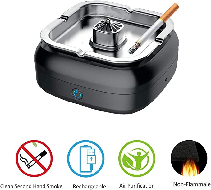 Cenicero para purificador de aire multifuncional, soporte de ceniza para fumadores, filtro de carbono El filtro de aire con filtro de carga USB protege la salud de la familia para el hogar,