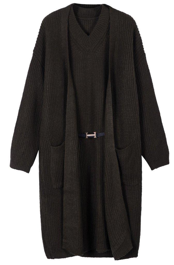 vogueearth Women's Long Sleeve Knit 2 Pieces Set Cardigan Sweater Dress C6027CUK-Black