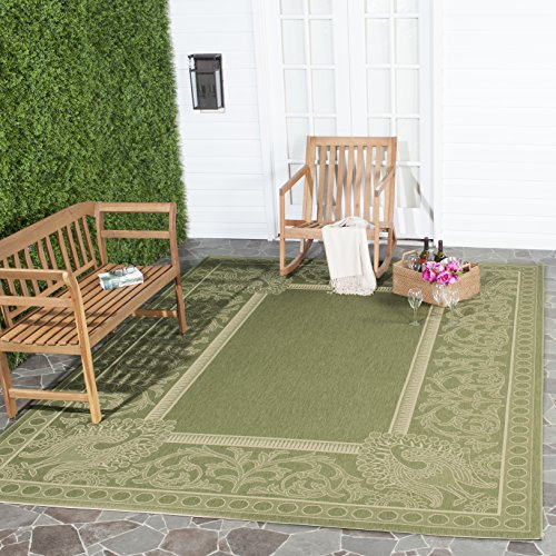 - Safavieh Courtyard Collection CY2965-1E06 Olive and Natural Indoor/ Outdoor Area Rug (6'7