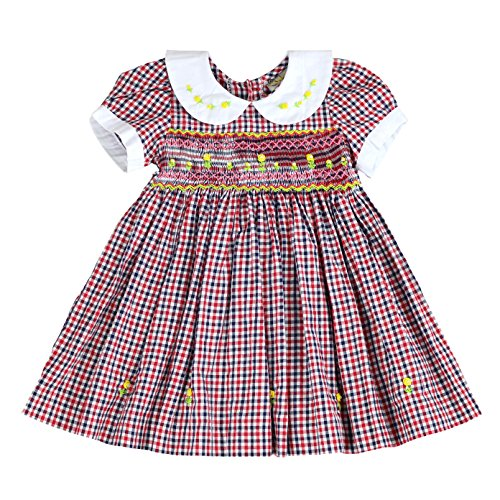 (sissymini - Infant and Toddlers Soft Cotton Plaid Hand Smocked Dress | Cacey Cohen's Classic Plaid in Red, Black, and White)