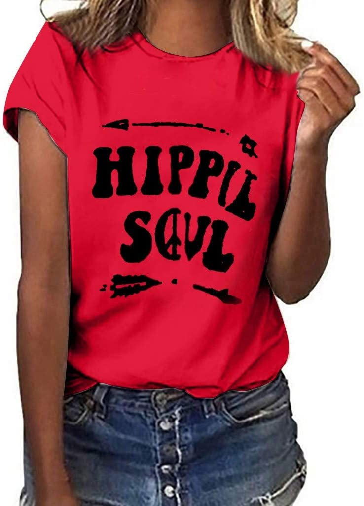 TIANRUN Women Plus Size T-Shirt O-Neck Top Letter Print Short Sleeve Active Wear XXL, Gray