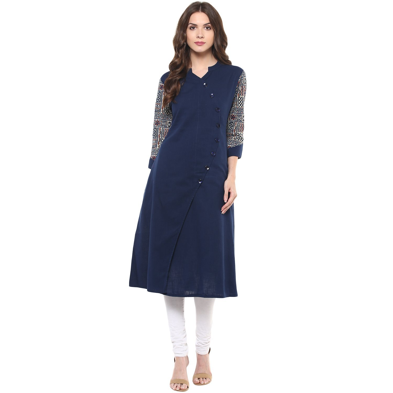 Indian Virasat Women's Printed Kurta Medium Blue Tunic Kurti