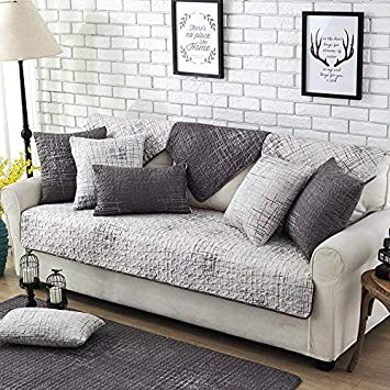 unimall cotton quilted sofa protector cover stitching plain light rh amazon co uk Grey Leather Furniture Dog Furniture Grey Sofas
