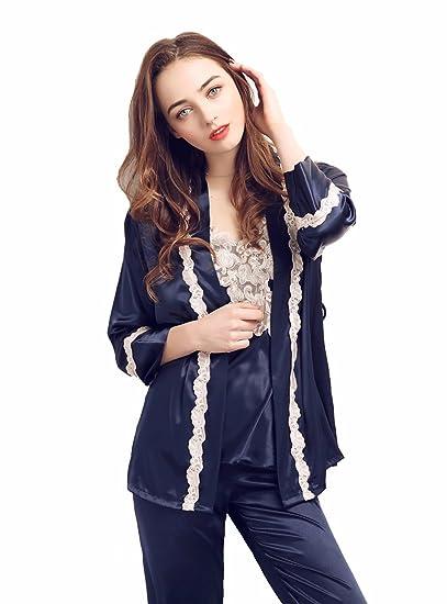 984fc7358375d TieNew Femmes vêtements de Nuit 3 pièces Sexy Nightwear Set, Satin Pyjamas  en Soie Ensemble
