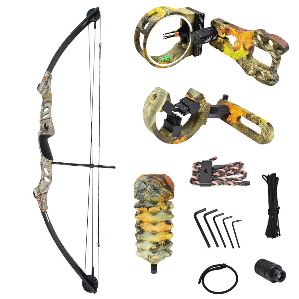iGlow 55 lb Tree Camouflage Camo Archery Hunting Compound Bow with Premium Kit 175 150 80 50 40 lbs Crossbow by iGlow