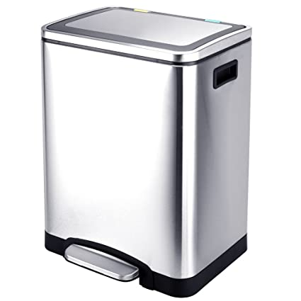 Amazon.com: Kitchen Trash Can Dual Compartments, Recycle ...
