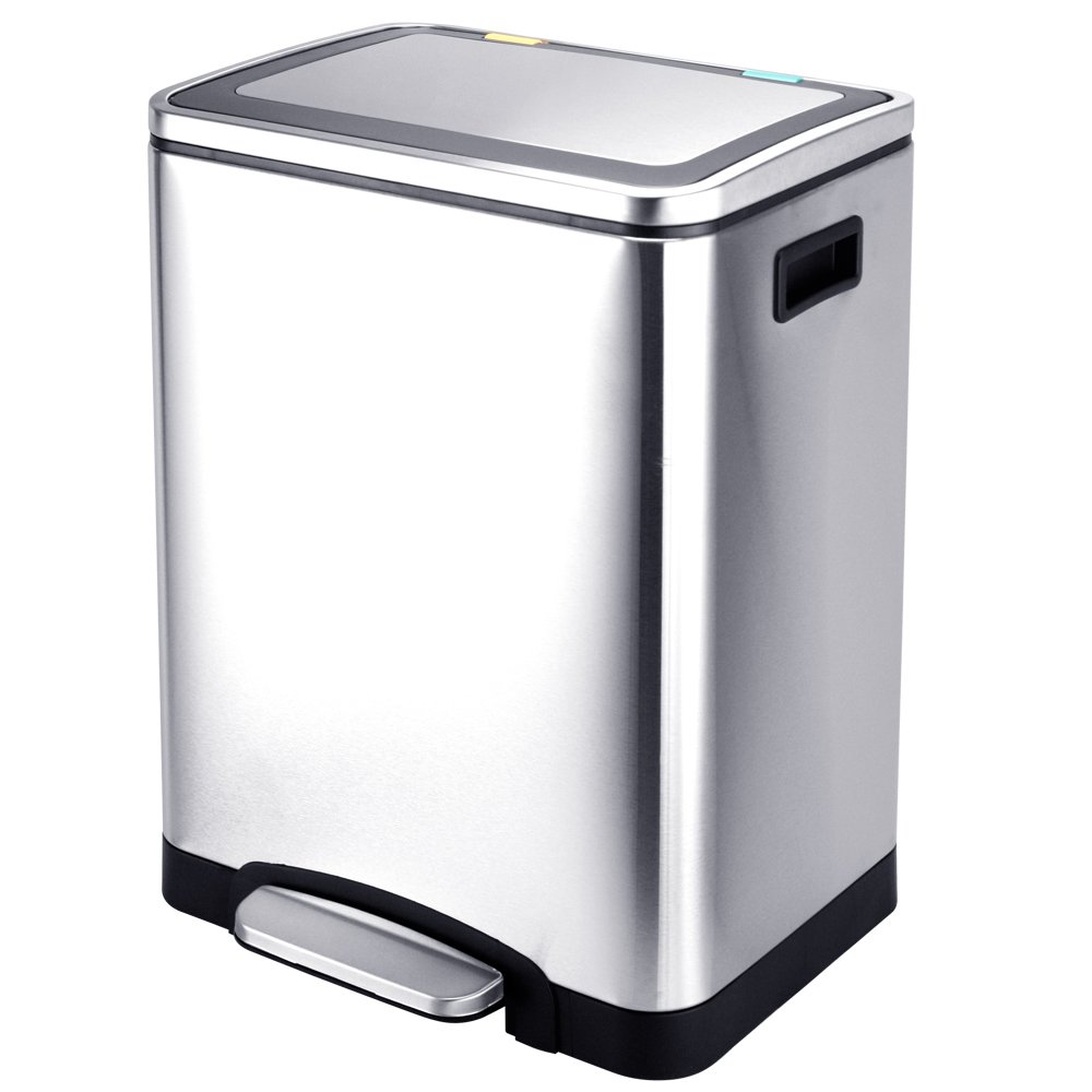 Kitchen Trash Can Dual Compartments, Recycle Sorter Bin With Double Inner Buckets, Step Trash Can With Double Removable Inner Buckets, Brushed Stainless Steel, 30L / 8 Gallon