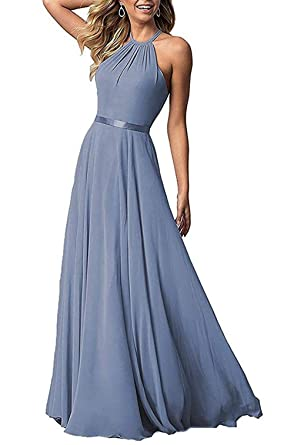 4a081f6af58 Halter Chiffon Bridesmaid Dresses Long for Women Open Back Formal Evening  Gown (Dusty Blue